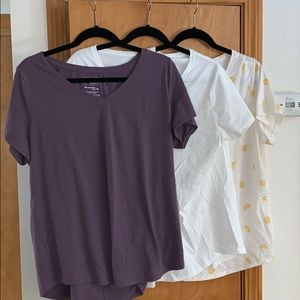3 v-neck tees. Maybe worn once.